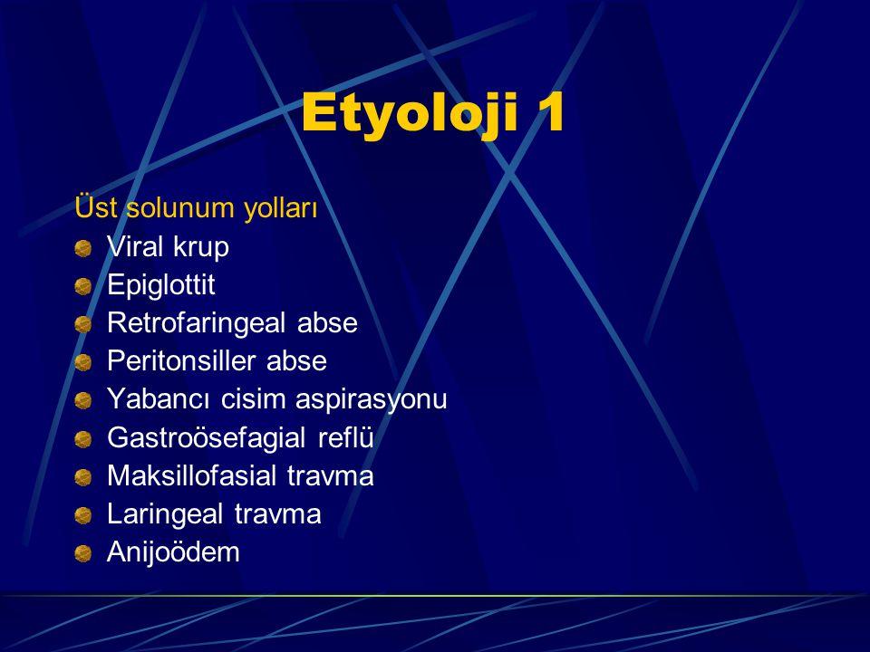 Etyoloji 1 Üst solunum yolları Viral krup Epiglottit Retrofaringeal abse Peritonsiller abse Yabancı cisim aspirasyonu Gastroösefagial reflü Maksillofasial travma Laringeal travma Anijoödem