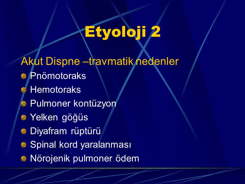 Etyoloji 2 Akut Dispne –travmatik nedenler Pnömotoraks Hemotoraks Pulmoner kontüzyon Yelken göğüs Diyafram rüptürü Spinal kord yaralanması Nörojenik pulmoner ödem