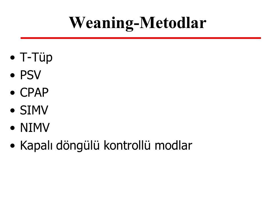 Weaning-Metodlar T-Tüp PSV CPAP SIMV NIMV Kapalı döngülü kontrollü modlar