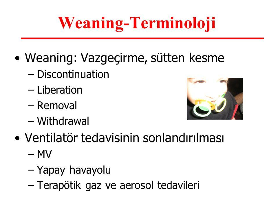 Weaning-Terminoloji Weaning: Vazgeçirme, sütten kesme –Discontinuation –Liberation –Removal –Withdrawal Ventilatör tedavisinin sonlandırılması –MV –Ya
