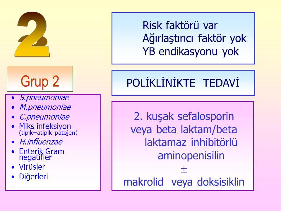 Grup 2 S.pneumoniae M.pneumoniae C.pneumoniae Miks infeksiyon (tipik+atipik patojen) H.influenzae Enterik Gram negatifler Virüsler Diğerleri Risk fakt