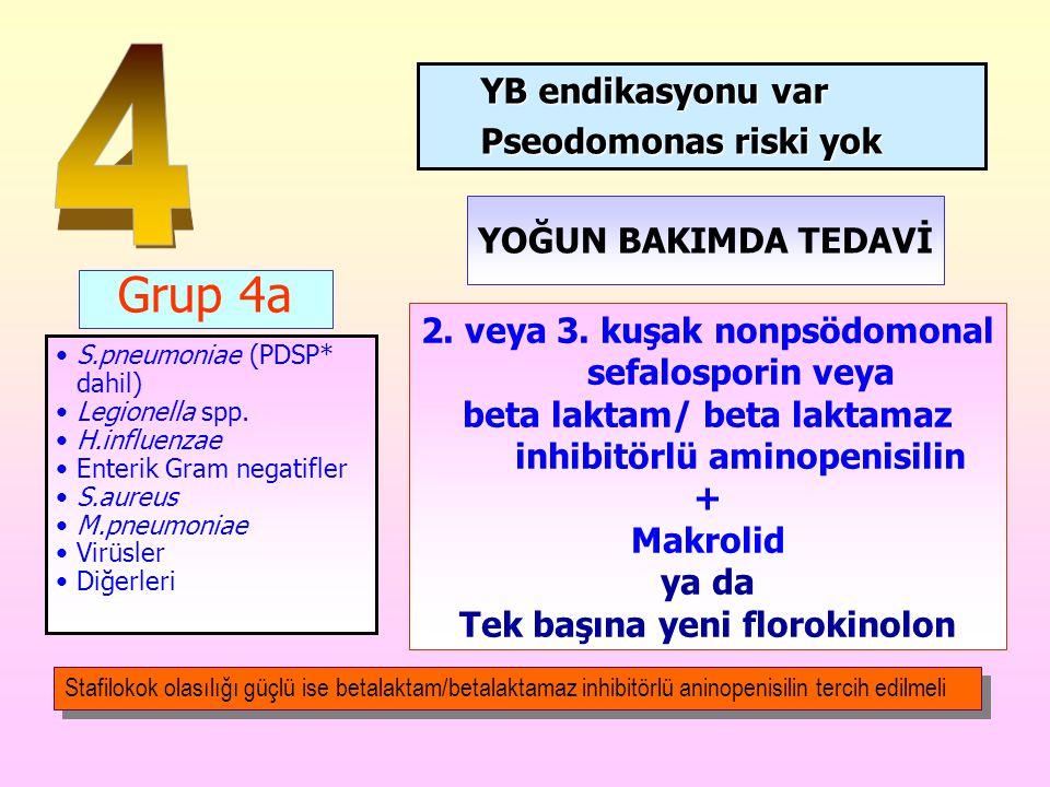 Grup 4a S.pneumoniae (PDSP* dahil) Legionella spp. H.influenzae Enterik Gram negatifler S.aureus M.pneumoniae Virüsler Diğerleri YB endikasyonu var Ps