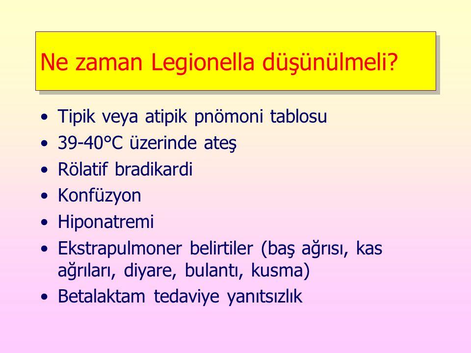 Ne zaman Legionella düşünülmeli? Tipik veya atipik pnömoni tablosu 39-40°C üzerinde ateş Rölatif bradikardi Konfüzyon Hiponatremi Ekstrapulmoner belir