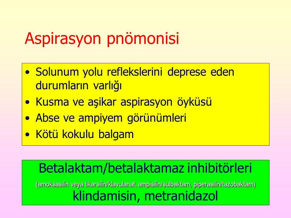 Aspirasyon pnömonisi Solunum yolu reflekslerini deprese eden durumların varlığı Kusma ve aşikar aspirasyon öyküsü Abse ve ampiyem görünümleri Kötü kokulu balgam (amoksasilin veya tikarsilin/klavulanat, ampisilin/sulbaktam, piperasilin/tazobaktam) Betalaktam/betalaktamaz inhibitörleri (amoksasilin veya tikarsilin/klavulanat, ampisilin/sulbaktam, piperasilin/tazobaktam) klindamisin, metranidazol