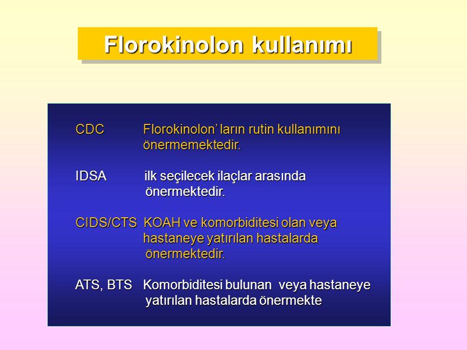 Florokinolon kullanımı CDC Florokinolon' ların rutin kullanımını önermemektedir. önermemektedir. IDSA ilk seçilecek ilaçlar arasında önermektedir. CID