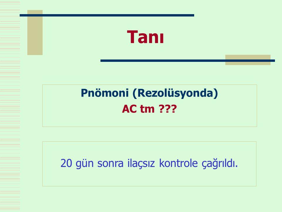 Tanı Pnömoni (Rezolüsyonda) AC tm ??? 20 gün sonra ilaçsız kontrole çağrıldı.