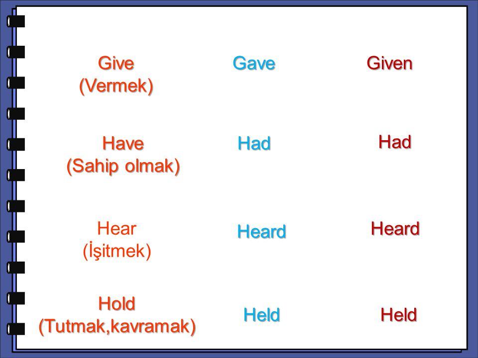 Had Hear (İşitmek) Heard Hold (Tutmak,kavramak) HeldHeld Give (Vermek) Gave Gave Given Have (Sahip olmak) Had Had Heard