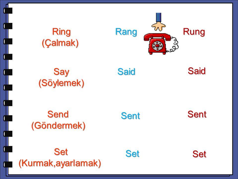 Said Send (Göndermek) Sent Set (Kurmak,ayarlamak) Set (Kurmak,ayarlamak) Set Set Ring (Çalmak) Ring (Çalmak) Rang Rang Rung Say (Söylemek) Said Said Sent
