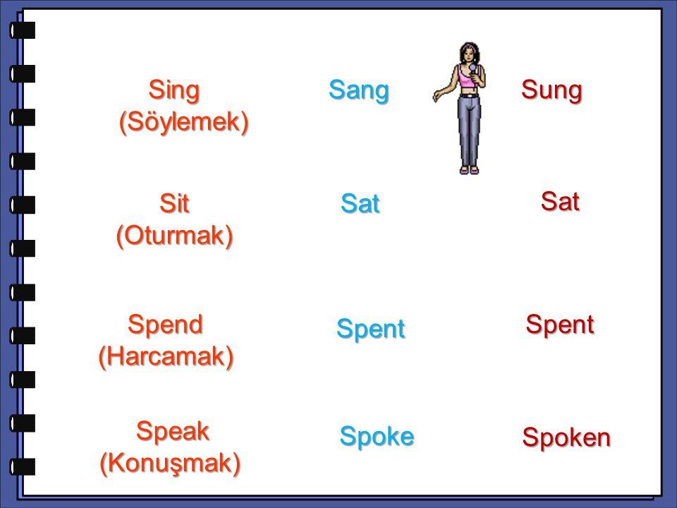 Sat Spend (Harcamak) Spent Speak (Konuşmak) Speak (Konuşmak) Spoke Spoken Sing (Söylemek) Sing (Söylemek) Sang Sang Sung Sit (Oturmak) Sat Sat Spent