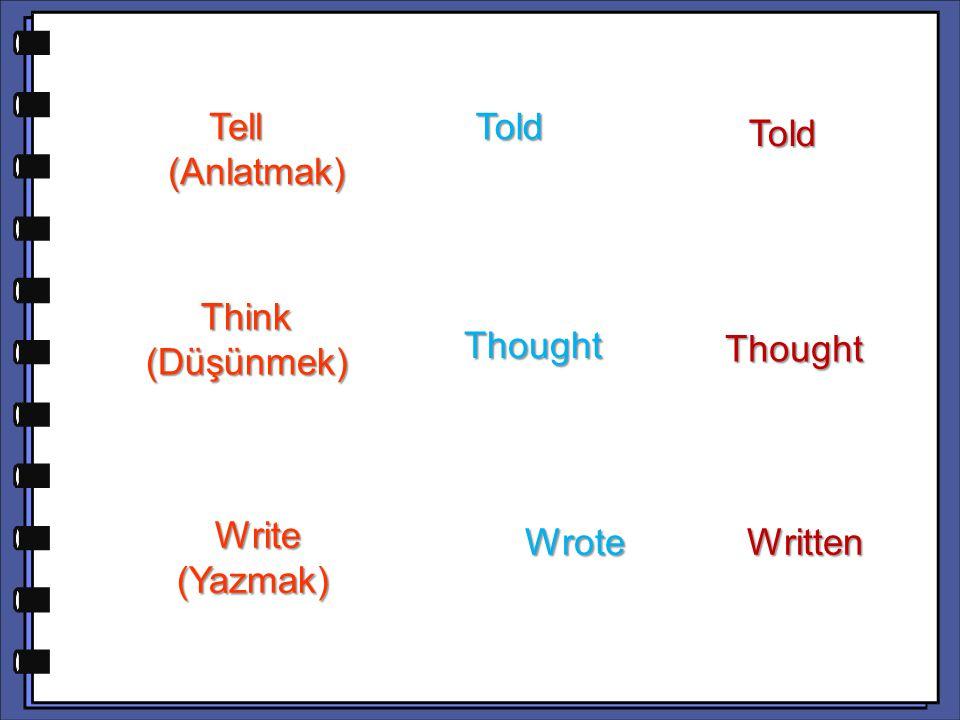 Think (Düşünmek) Thought Write (Yazmak) Write (Yazmak) WroteWritten Tell (Anlatmak) Tell (Anlatmak) Told Told Told Thought