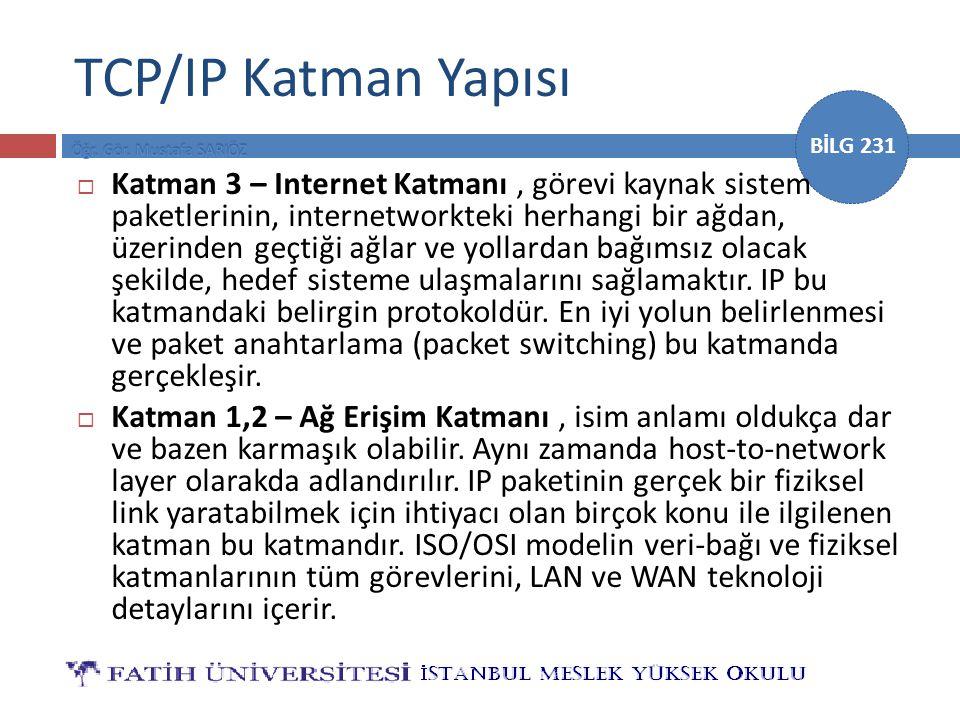 BİLG 231 TCP/IP Katman Yapısı  Katman 3 – Internet Katmanı, görevi kaynak sistem paketlerinin, internetworkteki herhangi bir ağdan, üzerinden geçtiği ağlar ve yollardan bağımsız olacak şekilde, hedef sisteme ulaşmalarını sağlamaktır.