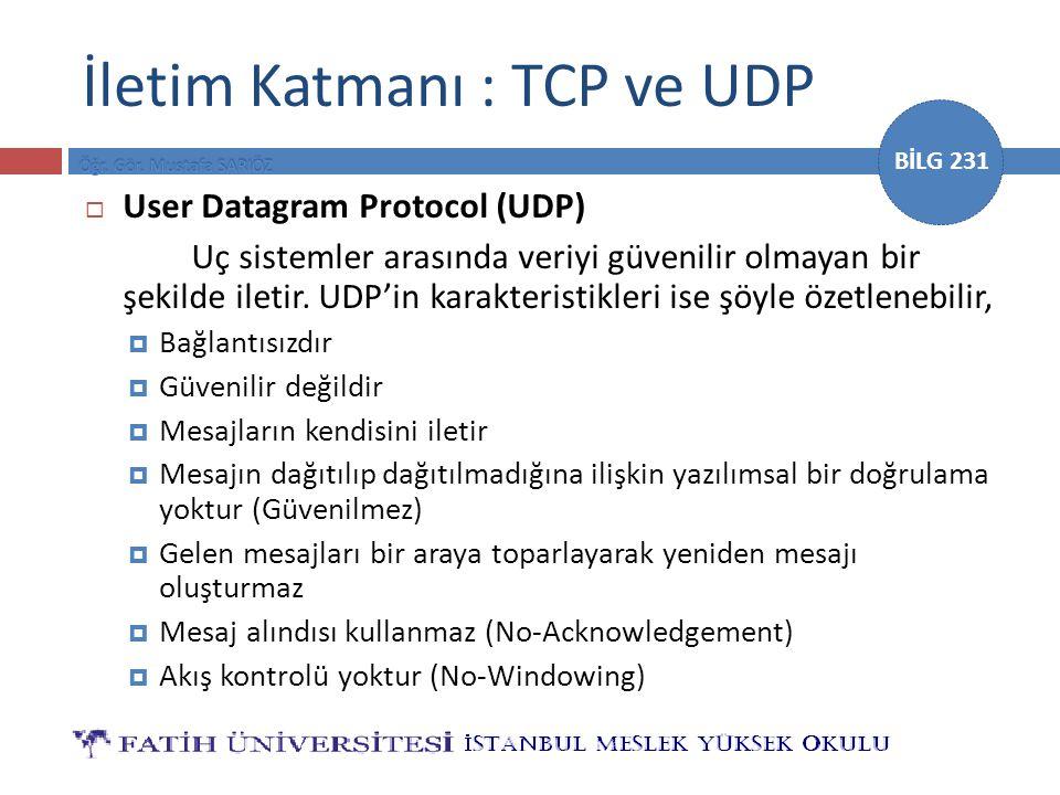 BİLG 231 İletim Katmanı : TCP ve UDP  User Datagram Protocol (UDP) Uç sistemler arasında veriyi güvenilir olmayan bir şekilde iletir. UDP'in karakter