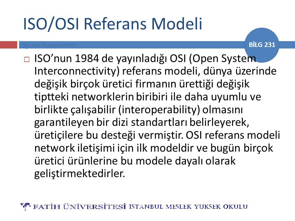 BİLG 231 ISO/OSI Referans Modeli  ISO'nun 1984 de yayınladığı OSI (Open System Interconnectivity) referans modeli, dünya üzerinde değişik birçok üretici firmanın ürettiği değişik tiptteki networklerin biribiri ile daha uyumlu ve birlikte çalışabilir (interoperability) olmasını garantileyen bir dizi standartları belirleyerek, üretiçilere bu desteği vermiştir.
