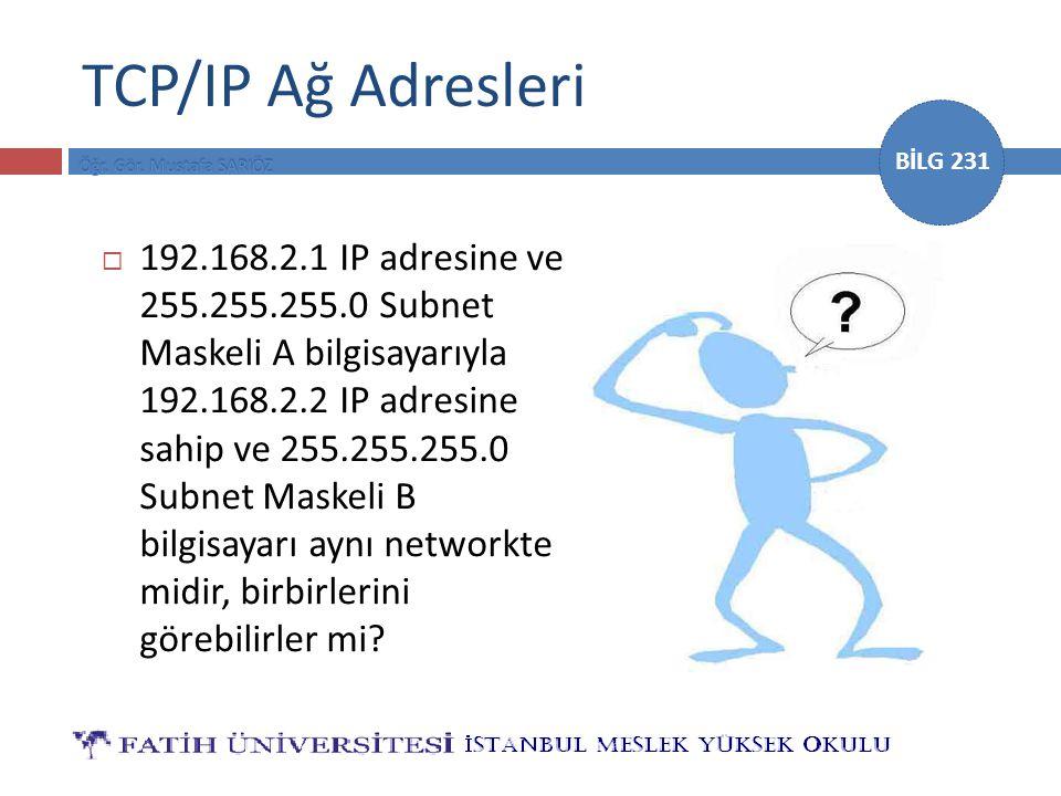 BİLG 231 TCP/IP Ağ Adresleri  192.168.2.1 IP adresine ve 255.255.255.0 Subnet Maskeli A bilgisayarıyla 192.168.2.2 IP adresine sahip ve 255.255.255.0 Subnet Maskeli B bilgisayarı aynı networkte midir, birbirlerini görebilirler mi?