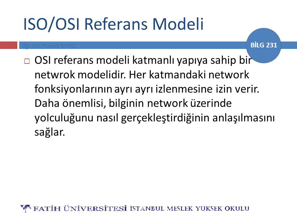 BİLG 231 ISO/OSI Referans Modeli  OSI referans modeli katmanlı yapıya sahip bir netwrok modelidir. Her katmandaki network fonksiyonlarının ayrı ayrı