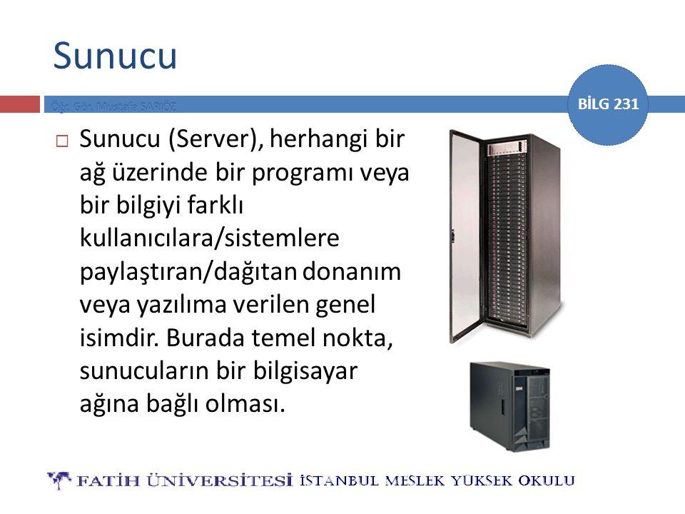 BİLG 231 Sunucu  Sunucu (Server), herhangi bir ağ üzerinde bir programı veya bir bilgiyi farklı kullanıcılara/sistemlere paylaştıran/dağıtan donanım veya yazılıma verilen genel isimdir.