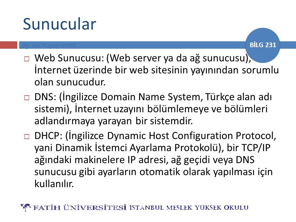 BİLG 231 Sunucular  Web Sunucusu: (Web server ya da ağ sunucusu), İnternet üzerinde bir web sitesinin yayınından sorumlu olan sunucudur.  DNS: (İngi
