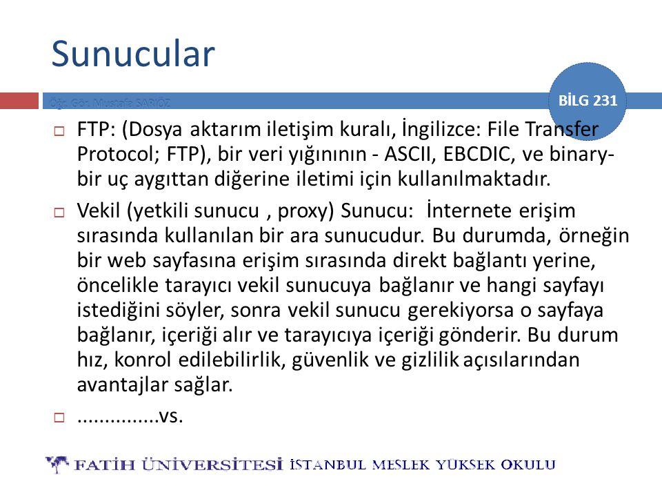 BİLG 231 Sunucular  FTP: (Dosya aktarım iletişim kuralı, İngilizce: File Transfer Protocol; FTP), bir veri yığınının - ASCII, EBCDIC, ve binary- bir uç aygıttan diğerine iletimi için kullanılmaktadır.