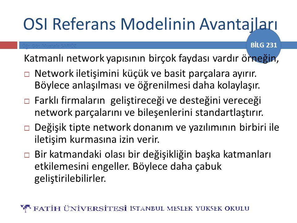 BİLG 231 OSI Referans Modelinin Avantajları Katmanlı network yapısının birçok faydası vardır örneğin,  Network iletişimini küçük ve basit parçalara a