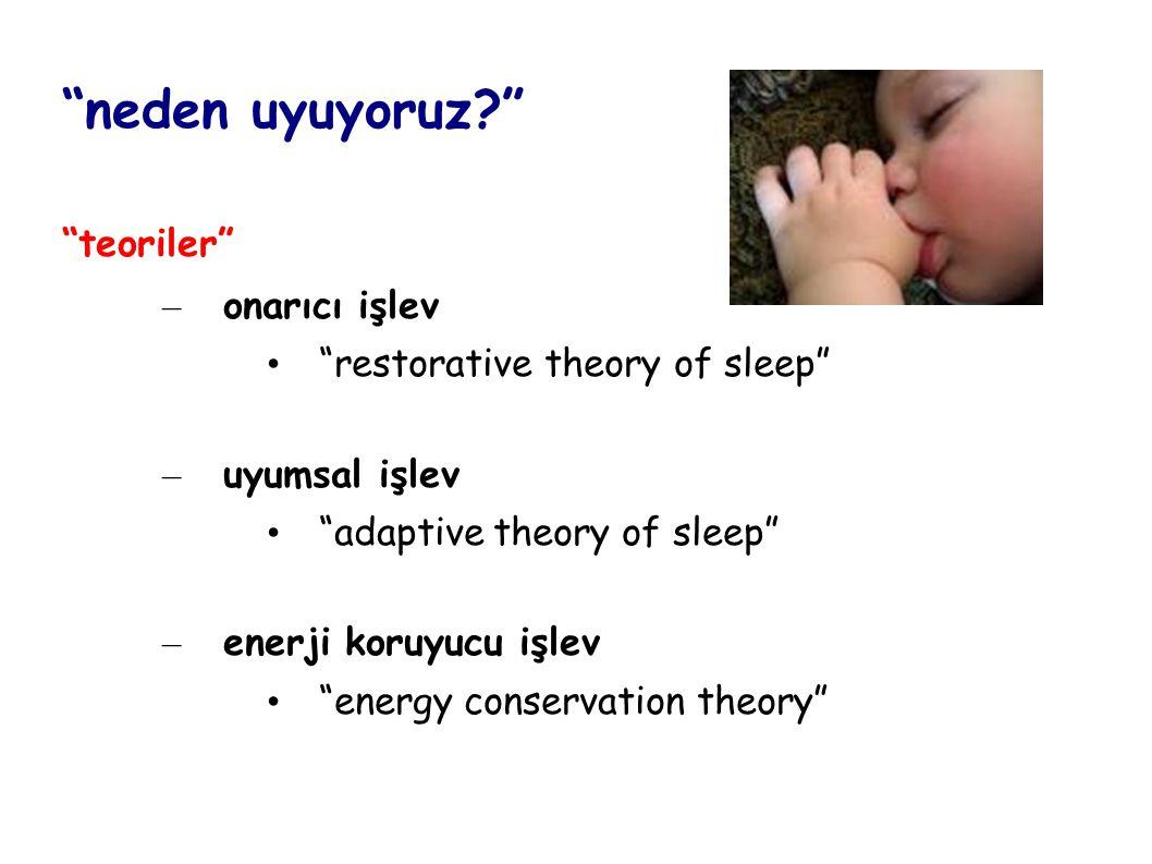 3-5 yaş - davranışsal insomnia: sınır koymayla ilişkili tip - uykuda yürüme - uyku terörü - gece korkuları, kabus görme 6-12 yaş - kabus görme - obstrüktif uyku apnesi - yetersiz uyku süresi >12 yaş - yetersiz uyku süresi - gecikmiş uyku fazı bozukluğu - narkolepsi - huzursuz bacak sendromu