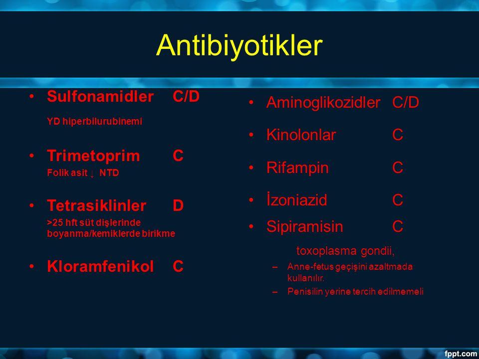 Antibiyotikler SulfonamidlerC/D YD hiperbilurubinemi TrimetoprimC Folik asit ↓ NTD TetrasiklinlerD >25 hft süt dişlerinde boyanma/kemiklerde birikme K