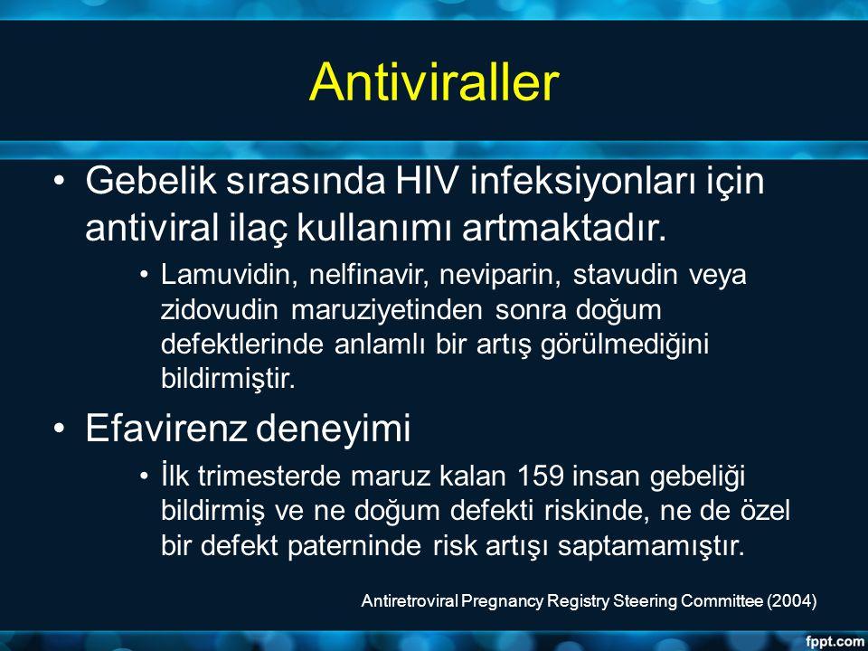 Antiviraller Gebelik sırasında HIV infeksiyonları için antiviral ilaç kullanımı artmaktadır. Lamuvidin, nelfinavir, neviparin, stavudin veya zidovudin