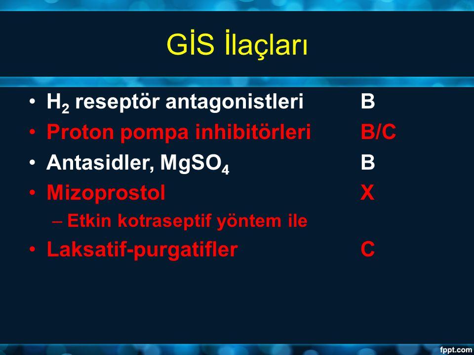 GİS İlaçları H 2 reseptör antagonistleri B Proton pompa inhibitörleri B/C Antasidler, MgSO 4 B MizoprostolX –Etkin kotraseptif yöntem ile Laksatif-pur