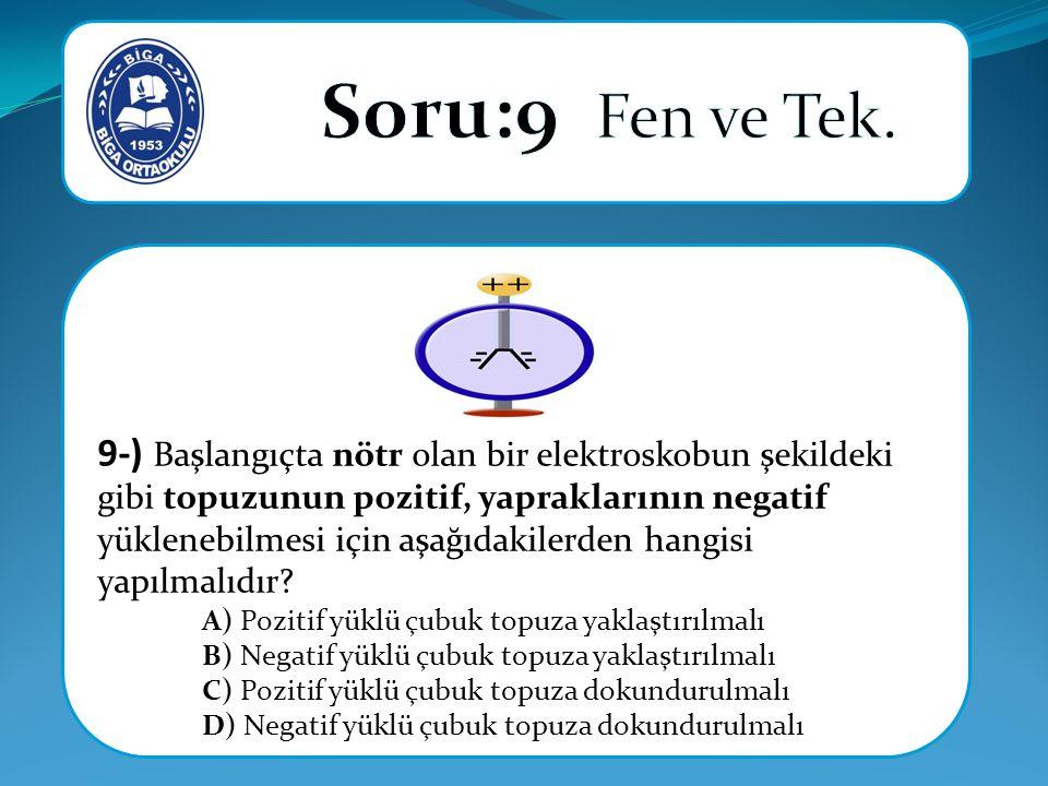 9-) Başlangıçta nötr olan bir elektroskobun şekildeki gibi topuzunun pozitif, yapraklarının negatif yüklenebilmesi için aşağıdakilerden hangisi yapılmalıdır.