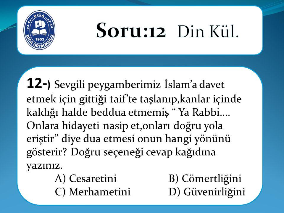 12- ) Sevgili peygamberimiz İslam'a davet etmek için gittiği taif'te taşlanıp,kanlar içinde kaldığı halde beddua etmemiş Ya Rabbi….
