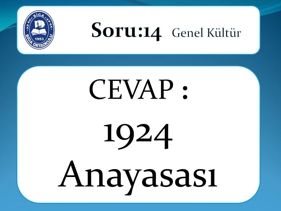 CEVAP : 1924 Anayasası