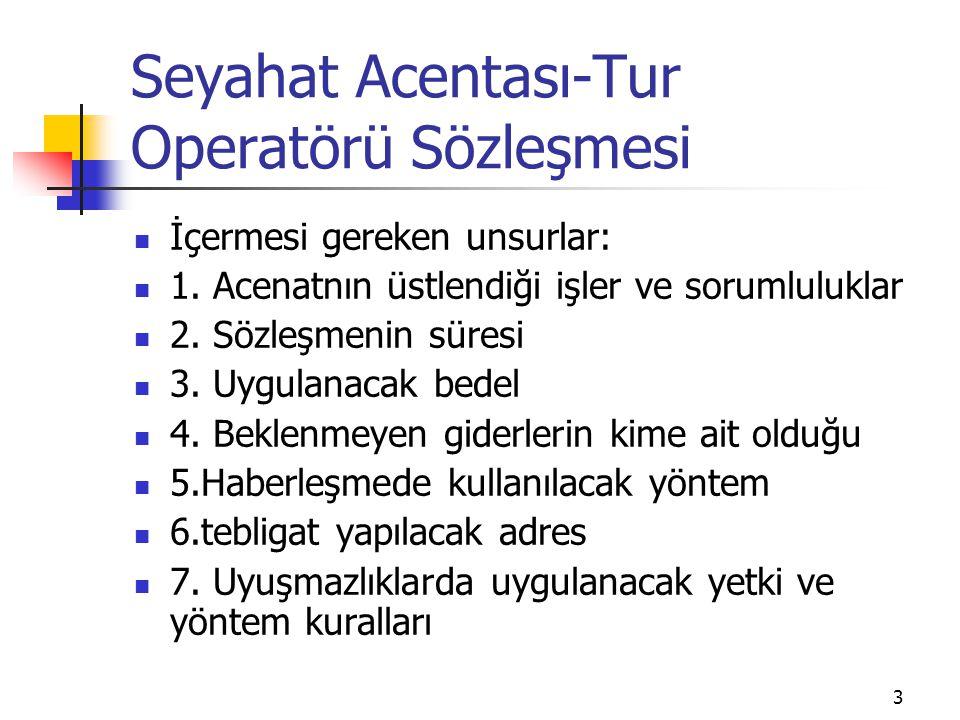 3 Seyahat Acentası-Tur Operatörü Sözleşmesi İçermesi gereken unsurlar: 1. Acenatnın üstlendiği işler ve sorumluluklar 2. Sözleşmenin süresi 3. Uygulan