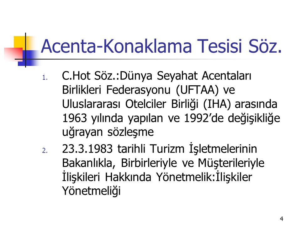 5 Acenta-Otel Sözleşmeleri 3 çeşit sözleşme vardır: 1.