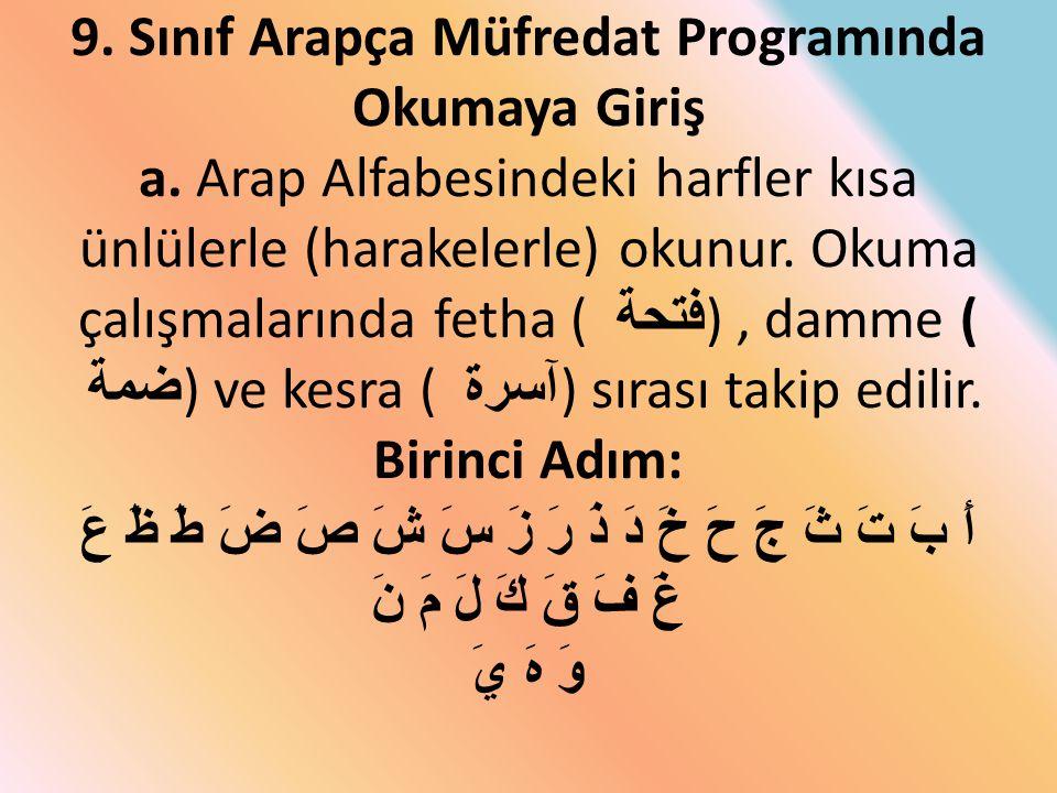 9. Sınıf Arapça Müfredat Programında Okumaya Giriş a. Arap Alfabesindeki harfler kısa ünlülerle (harakelerle) okunur. Okuma çalışmalarında fetha ( فتح