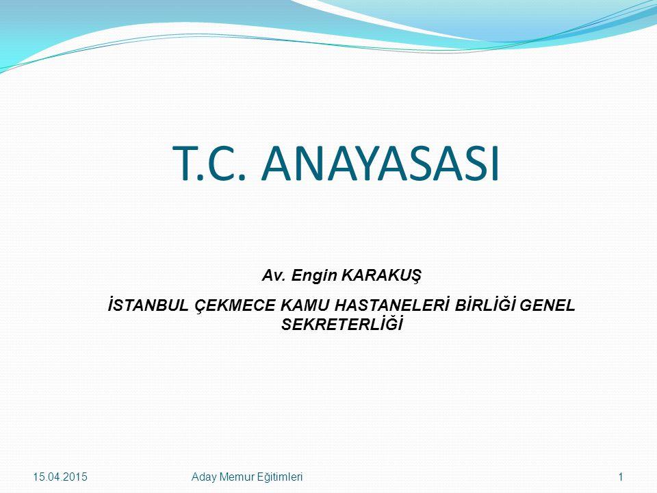 15.04.2015Aday Memur Eğitimleri92 Yasama Dokunulmazlığı (madde-83) Türkiye Büyük Millet Meclisi üyeleri, Meclis çalışmalarındaki oy ve sözlerinden, Mecliste ileri sürdükleri düşüncelerden, o oturumdaki Başkanlık Divanının teklifi üzerine Meclisce başka bir karar alınmadıkça bunları Meclis dışında tekrarlamak ve açığa vurmaktan sorumlu tutulamazlar.