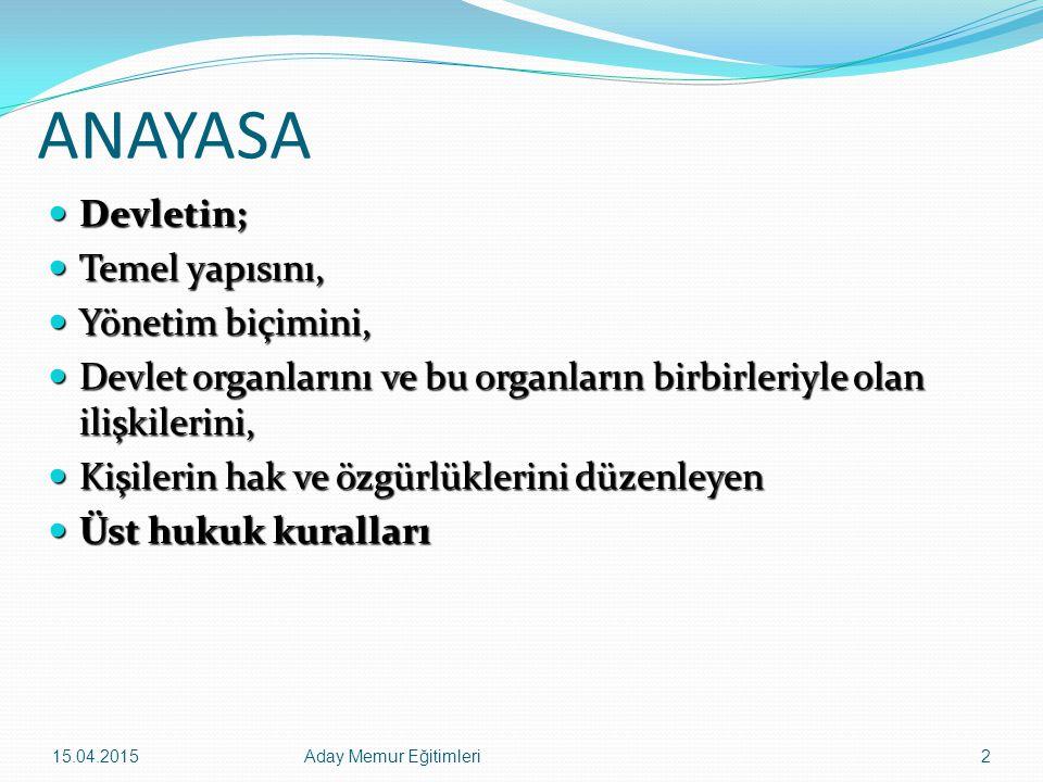 15.04.2015Aday Memur Eğitimleri43 Temel Hak ve Hürriyetlerin Sınırlandırılmasının Şartları -Sınırlama kanunla olmalıdır.