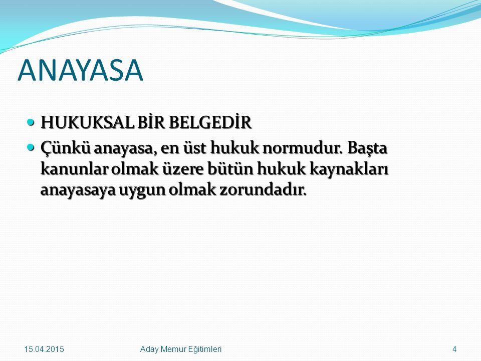 15.04.2015Aday Memur Eğitimleri75 SOSYAL VE EKONOMİK HAKLAR VE ÖDEVLER 19) Sporun geliştirilmesi (m 59) 20) Sosyal güvenlik hakkı (m 60) 21) Sosyal güvenlik bakımından özel olarak korunması gerekenler (m 61) 22) Yabancı ülkelerde çalışan Türk vatandaşları (m 62) 23) Târih, kültür ve tabiat varlıklarının korunması (m 63) 24) Sanatın ve sanatçının korunması (m 64) 25) Devletin iktisadî ve sosyal ödevlerinin sınırları (m 65)