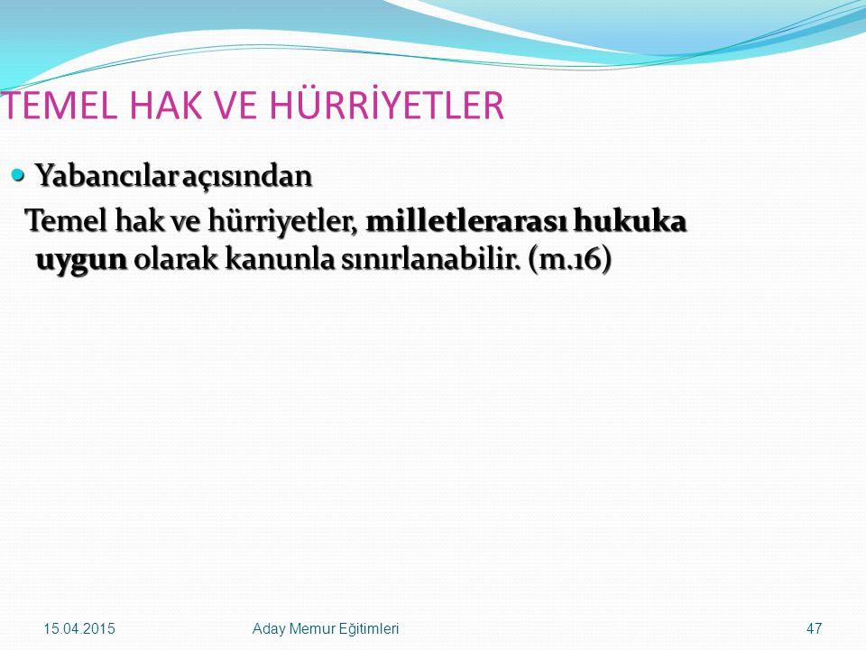15.04.2015Aday Memur Eğitimleri47 TEMEL HAK VE HÜRRİYETLER Yabancılar açısından Yabancılar açısından Temel hak ve hürriyetler, milletlerarası hukuka u