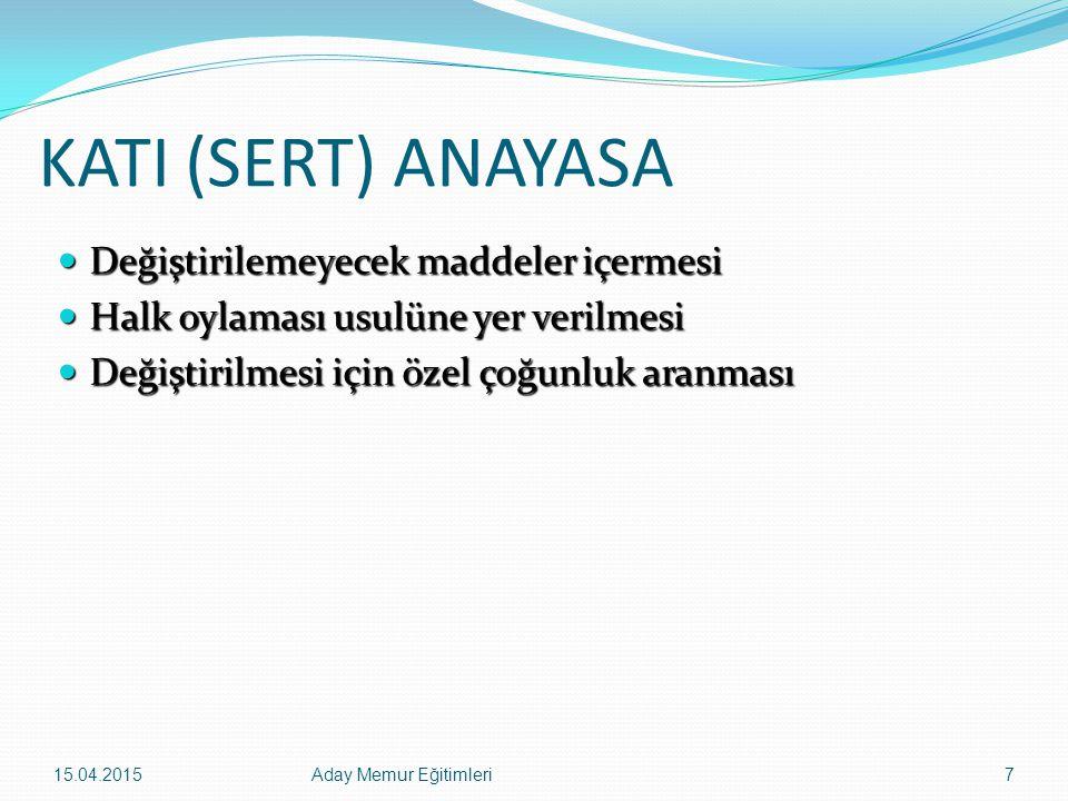 15.04.2015Aday Memur Eğitimleri88 Türkiye Büyük Millet Meclisinin Seçim Dönemi Türkiye Büyük Millet Meclisinin seçimleri dört yılda bir yapılır.(Madde -77) Türkiye Büyük Millet Meclisinin seçimleri dört yılda bir yapılır.(Madde -77) Meclis, bu süre dolmadan seçimin yenilenmesine karar verebileceği gibi, Anayasada belirtilen şartlar altında Cumhurbaşkanınca verilecek karara göre de seçimler yenilenir.
