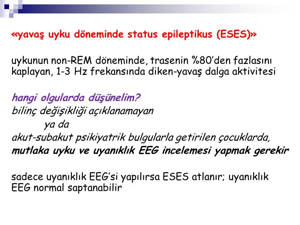 «konvülziv status epileptikus sonrası KOSE» konvülziv status epileptikus sonlandıktan sonra elektriksel nöbet aktivitesi sürebilir - gizli status epileptikus sürekli EEG kaydı yapılmadıkça bu olgular atlanır 164 konvülziv SE tanısı alan olguda %14 KOSE bildirilmiş