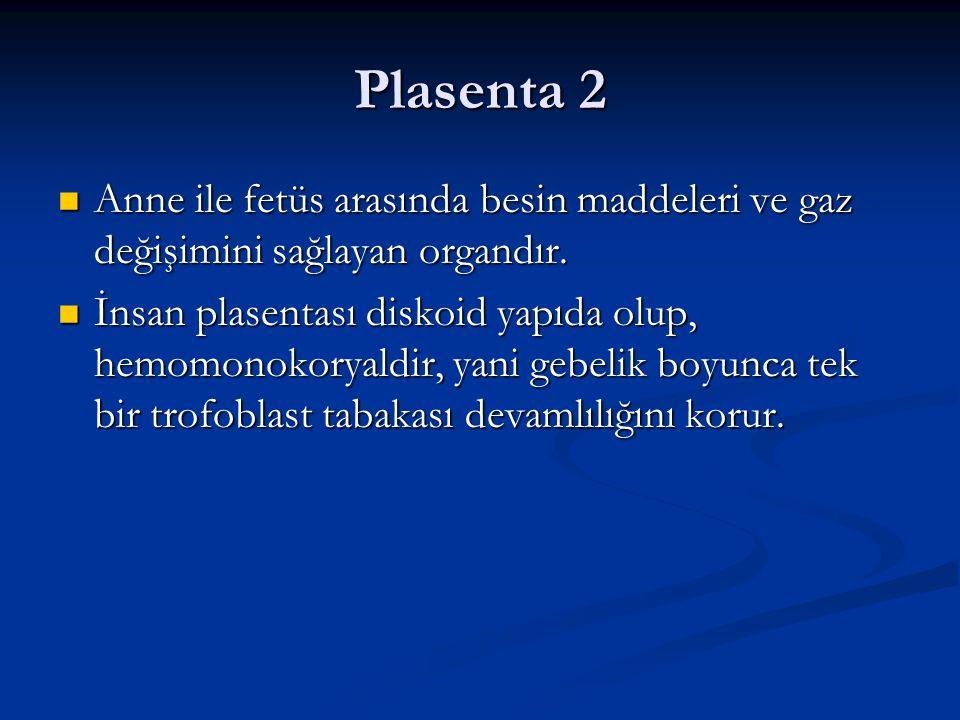 Plasenta 2 Anne ile fetüs arasında besin maddeleri ve gaz değişimini sağlayan organdır. Anne ile fetüs arasında besin maddeleri ve gaz değişimini sağl