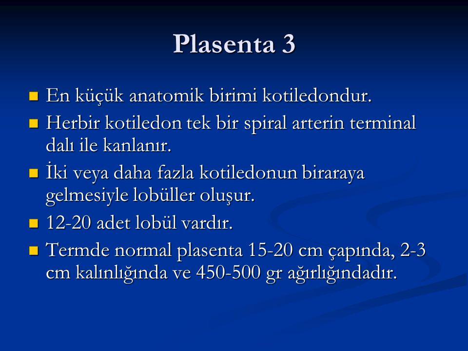 Plasenta 3 En küçük anatomik birimi kotiledondur. En küçük anatomik birimi kotiledondur. Herbir kotiledon tek bir spiral arterin terminal dalı ile kan