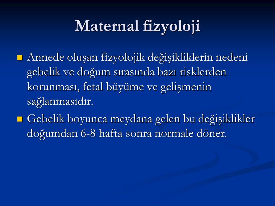 Maternal fizyoloji Annede oluşan fizyolojik değişikliklerin nedeni gebelik ve doğum sırasında bazı risklerden korunması, fetal büyüme ve gelişmenin sa
