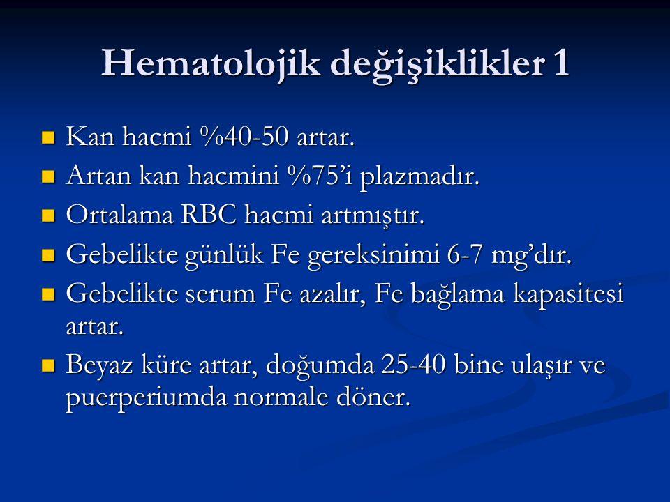 Hematolojik değişiklikler 1 Kan hacmi %40-50 artar. Kan hacmi %40-50 artar. Artan kan hacmini %75'i plazmadır. Artan kan hacmini %75'i plazmadır. Orta