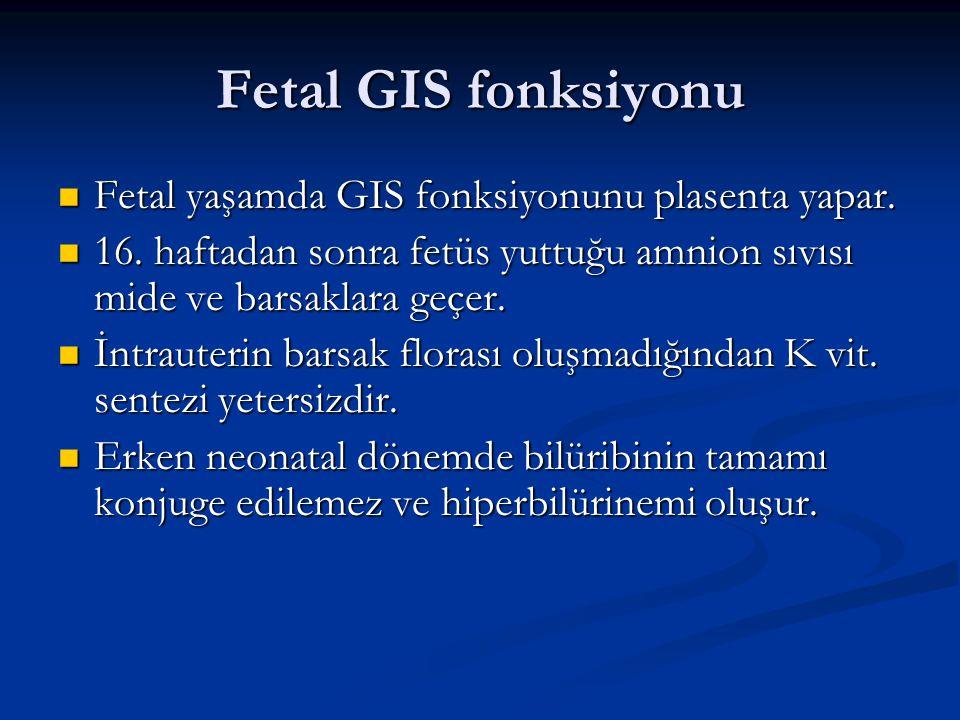 Fetal GIS fonksiyonu Fetal yaşamda GIS fonksiyonunu plasenta yapar. Fetal yaşamda GIS fonksiyonunu plasenta yapar. 16. haftadan sonra fetüs yuttuğu am