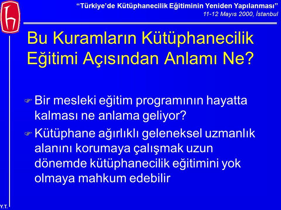 """""""Türkiye'de Kütüphanecilik Eğitiminin Yeniden Yapılanması"""" 11-12 Mayıs 2000, İstanbul Y.T. Bu Kuramların Kütüphanecilik Eğitimi Açısından Anlamı Ne? F"""