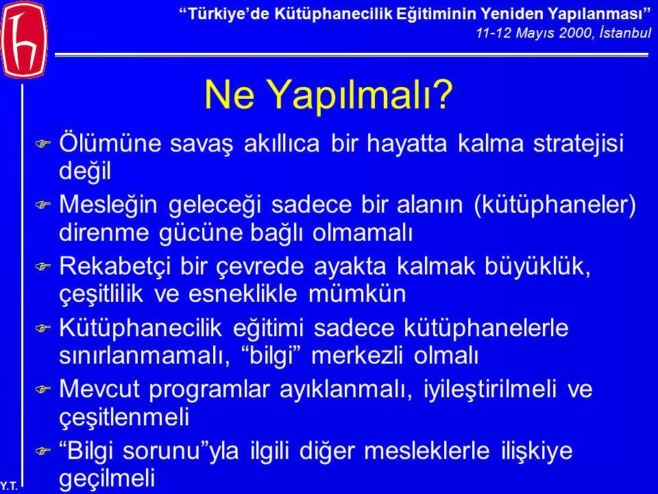 """""""Türkiye'de Kütüphanecilik Eğitiminin Yeniden Yapılanması"""" 11-12 Mayıs 2000, İstanbul Y.T. Ne Yapılmalı? F Ölümüne savaş akıllıca bir hayatta kalma st"""