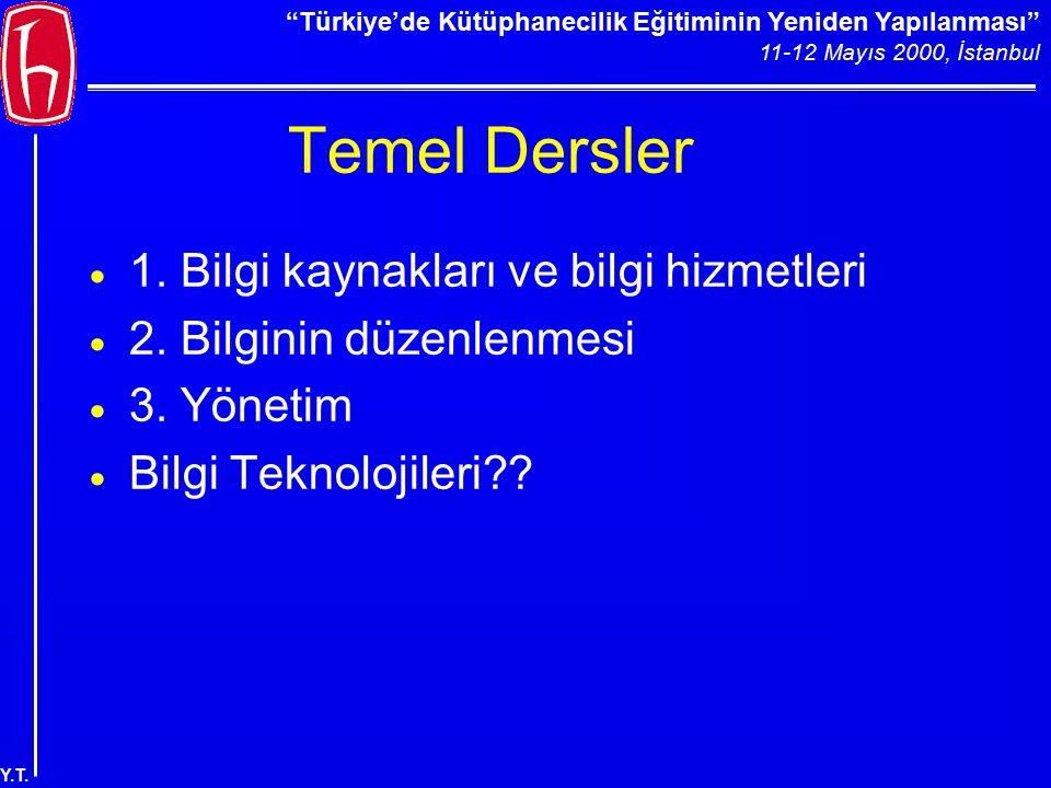 """""""Türkiye'de Kütüphanecilik Eğitiminin Yeniden Yapılanması"""" 11-12 Mayıs 2000, İstanbul Y.T. Temel Dersler  1. Bilgi kaynakları ve bilgi hizmetleri  2"""