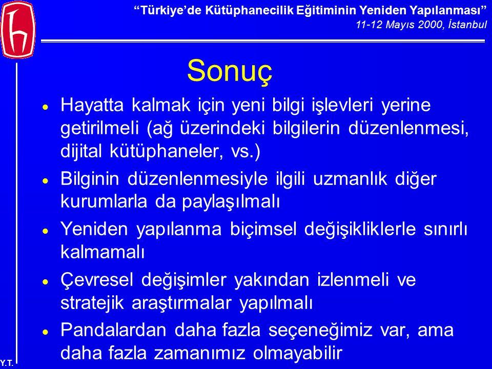 """""""Türkiye'de Kütüphanecilik Eğitiminin Yeniden Yapılanması"""" 11-12 Mayıs 2000, İstanbul Y.T. Sonuç  Hayatta kalmak için yeni bilgi işlevleri yerine get"""