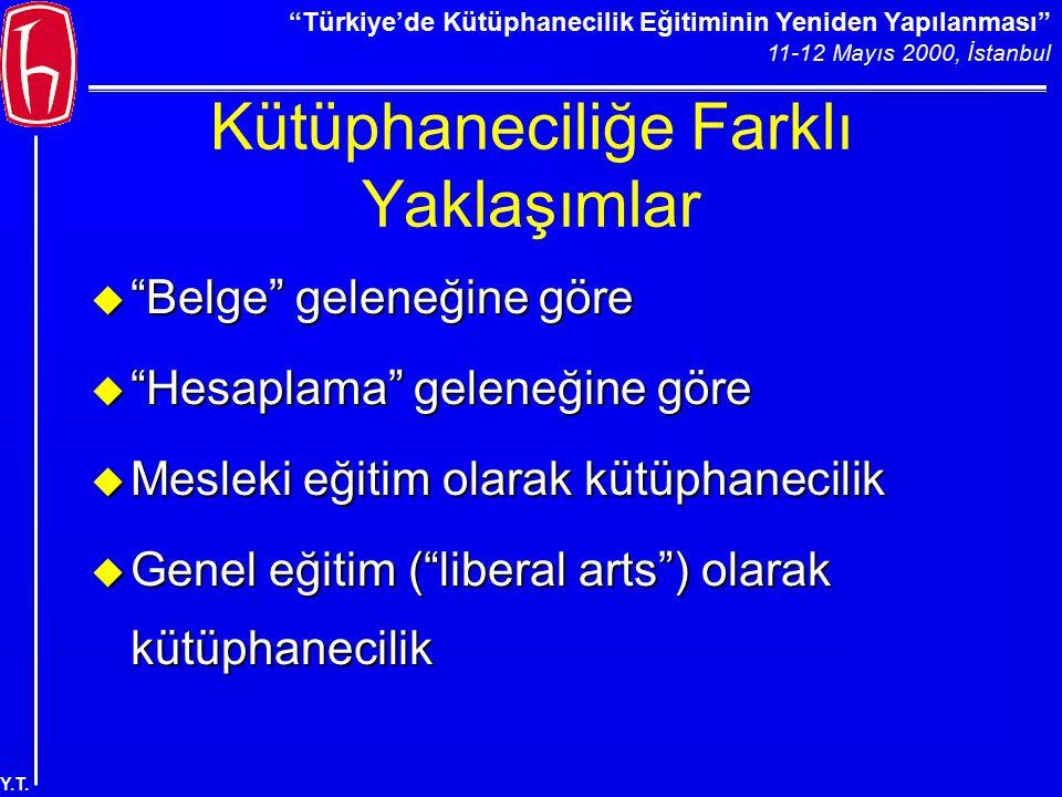 """""""Türkiye'de Kütüphanecilik Eğitiminin Yeniden Yapılanması"""" 11-12 Mayıs 2000, İstanbul Y.T. Kütüphaneciliğe Farklı Yaklaşımlar u """"Belge"""" geleneğine gör"""
