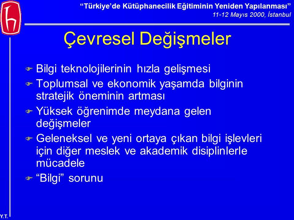 """""""Türkiye'de Kütüphanecilik Eğitiminin Yeniden Yapılanması"""" 11-12 Mayıs 2000, İstanbul Y.T. Çevresel Değişmeler F Bilgi teknolojilerinin hızla gelişmes"""
